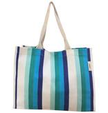 Everyday Tote Bag Green Blue Stripe