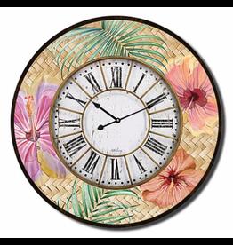 Clock with Hibiscus Design (Large)