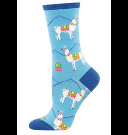 Socks for Ladies - Blue Llamas