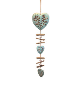 Hanging Garland of 3 carved hearts