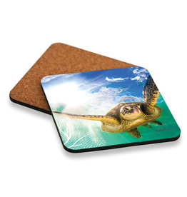 Coaster Set /6 Green Turtle Swimming
