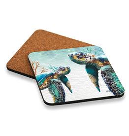 Coaster Set/6 Green Turtles Pair