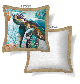 Cushion with Green Turtle Design