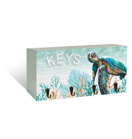 Key Hook with Green Turtle Design