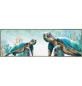 Framed Canvas - Green Turtle (Landscape)