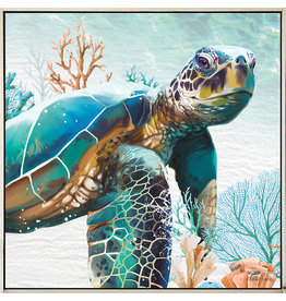 Framed Canvas - Green Turtle (Small)