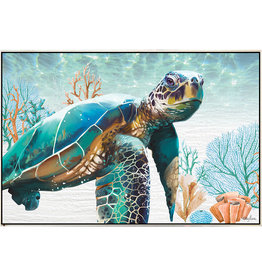 Framed Canvas - Green Turtle (Landscpae Medium)