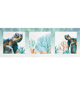 3D Painting - Triad of Green Turtles