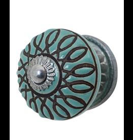 Doorknob - Blue Ceramic