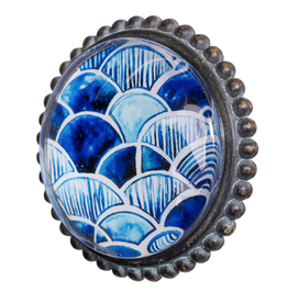 Doorknob Indigo Metal w Glass