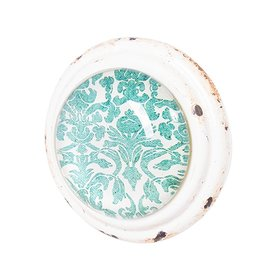 Doorknob - Teal Cream Metal with Glass
