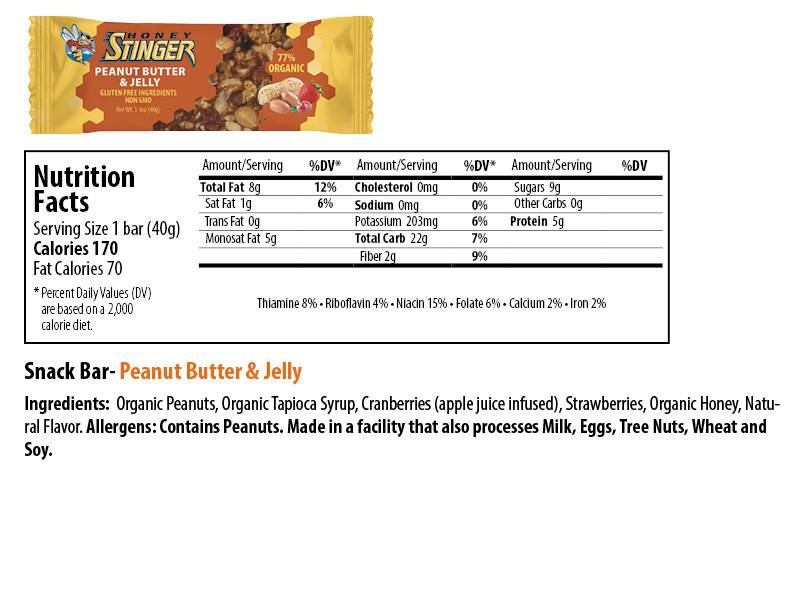 Honey Stinger Honey Stinger Organic Peanut Butter and Jelly Snack Bar