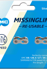 KMC Missing Link Reusable Chain Link Card of 2, Silver 6/7/8 Spd