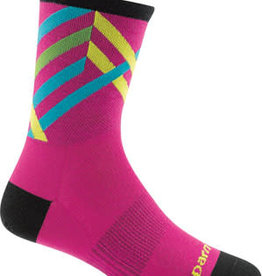 Darn Tough Vermont Darn Tough Vermont Graphic Stripe Micro Crew Ultra Light Socks - 4 inch, Pink, Women's, Medium