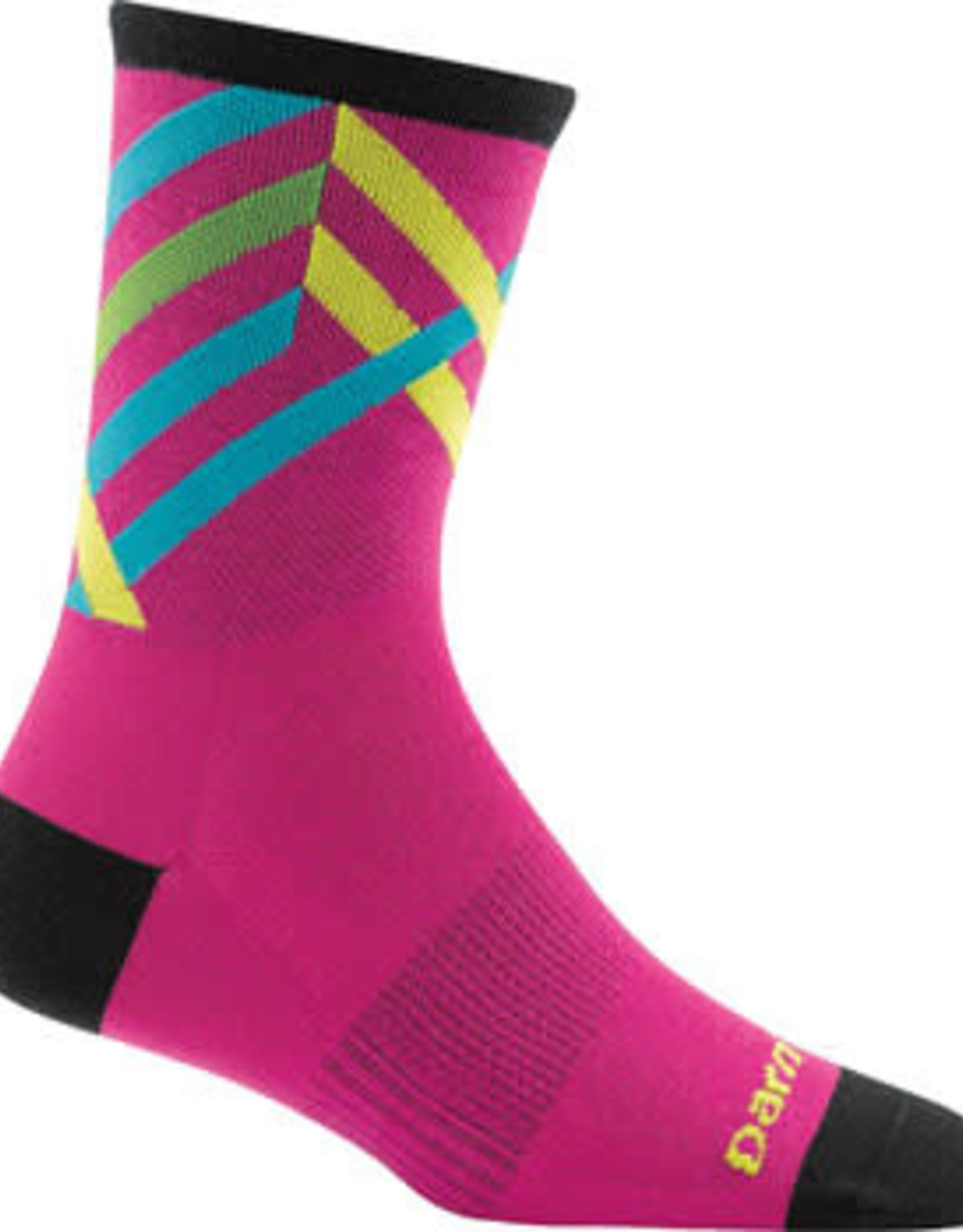 Darn Tough Vermont Darn Tough Vermont Graphic Stripe Micro Crew Ultra Light Socks - 4 inch, Pink, Women's, Large