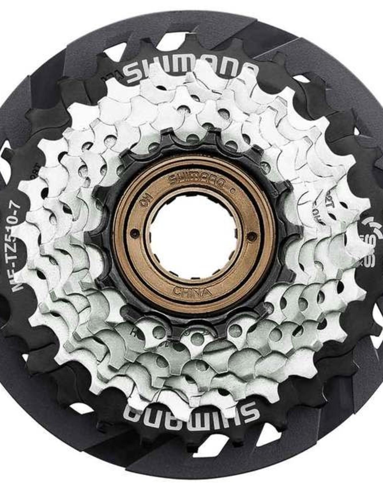 Shimano Shimano Multiple Freewheel Sprocket, MF-TZ510 14-28T, 7-SPEED, 14-16-18-20-22-24-28T, W/spoke Protector