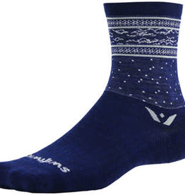 Swiftwick Swiftwick Vision Five Flurry Socks - 5 inch, Navy/Gray, Small