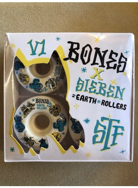 BONES STF EARTH ROLLERS V1 52MM WHITE SKATE WHEELS