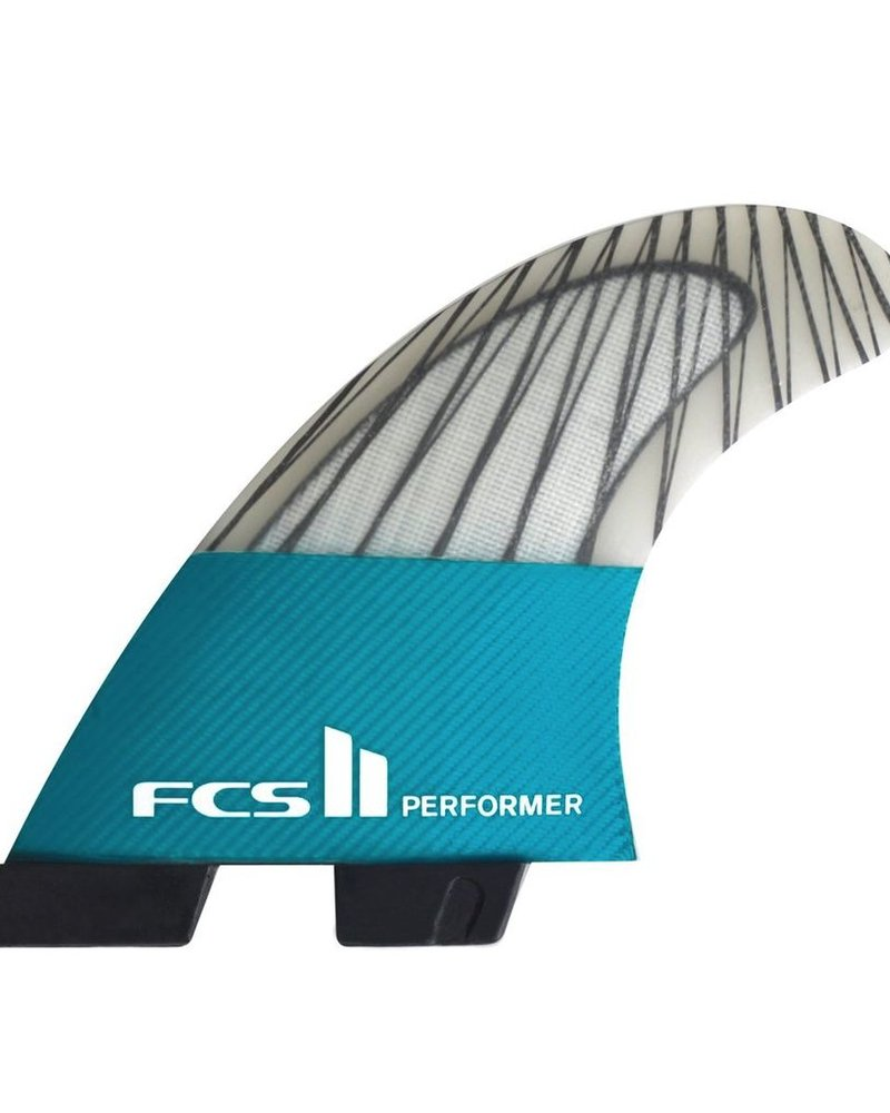 FCS FCS II PERFOMER PC CARBON TEAL MED TRI FINS