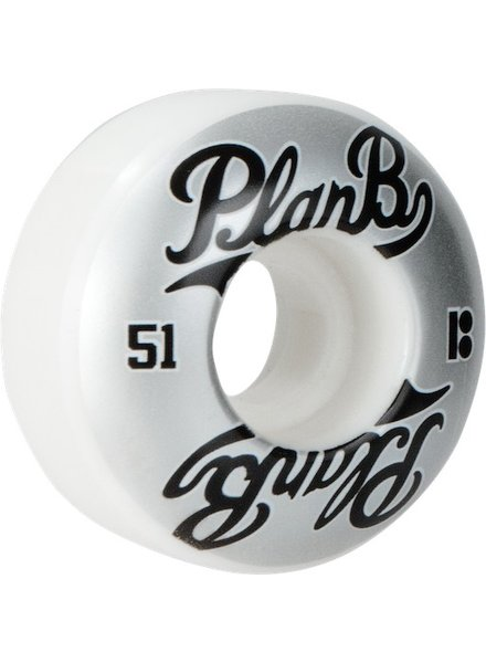 PLAN B PAST TIME 51MM WHEELS WHT/SIL/BLK