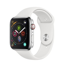Apple Apple Watch Series 4 GPS + Cellular - 44mm - Stainless Steel Case with White Sport Band