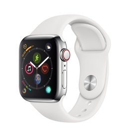 Apple Apple Watch Series 4 GPS + Cellular - 40mm - Stainless Steel Case with White Sport Band