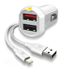 EFM EFM Car Charger 3.4A Dual USB With MFi Flipper Lightning Cable - White
