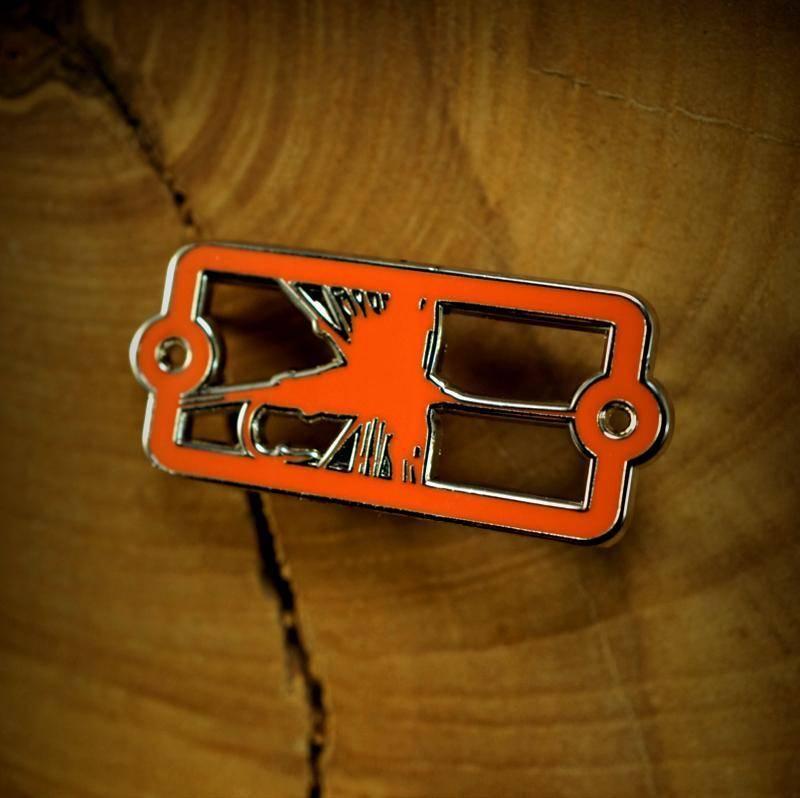 Sight Line Provisions Sight Line Provisions Enamel Badge Pin Dry Fly Orange