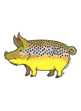 Remedy Provisions Pig Brown Trout Decal