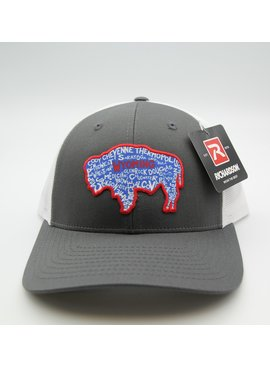 RICHARDSON RICHARDSON 115 CLASSIC LOW PRO TRUCKER RED BUFFALO WITH UGLY BUG ON BACK