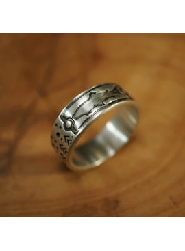 Sight Line Provisions SIGHT LINES PROVISIONS STERLING SILVER RING TROUT 2.0 STARS & TREES