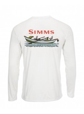 Simms Fishing Products SIMMS MEN'S SOLAR TECH TEE LONG SLEEVE SIMMS DRIFT WHITE WITH UGLY BUG LOGO