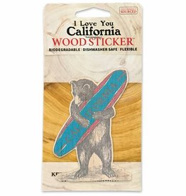 Wooden Sticker, CA Surf Bear