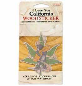 Wooden Sticker, CA Cannabis Bear