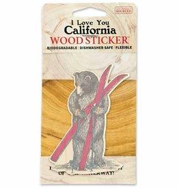 Wooden Sticker, Ski Bear