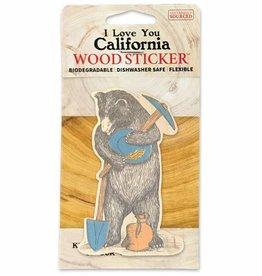 Wooden Sticker, Miner Bear