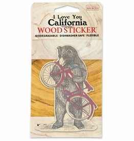 Wooden Sticker, Bicycle Bear
