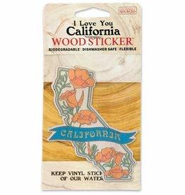 Wooden Sticker, California w/Poppies