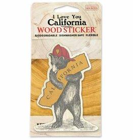Wooden Sticker, CA Firefighter Bear