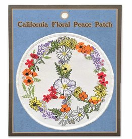 Floral Peace Sign Embroidered Patch
