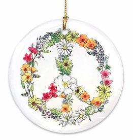 Floral Peace Glass Disc Orna