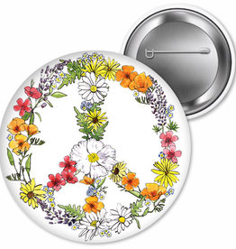 """SF Mercantile Floral Peace Sign Pin, 2.25"""""""