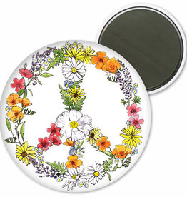 """SF Mercantile Floral Peace Sign Magnet, 2.25"""" round"""
