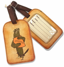 AZ Saguaro Hug Faux Leather Luggage Tag