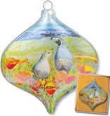 California Quail & Poppies Ornament