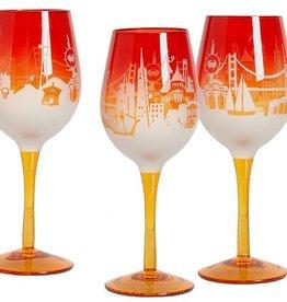 SF Sunrise Skyline Wine Glass