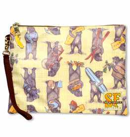CA Bears Cosmetic Zipper Pouch, laminated fabric