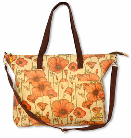 CA Poppy Reversible Tote, laminated fabric