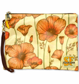 CA Poppy Cosmetic Zipper Pouch, laminated fabric
