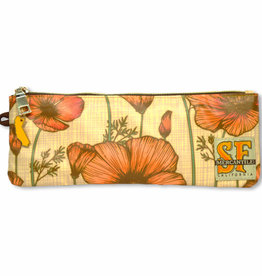 CA Poppy Pencil Pouch, laminated fabric